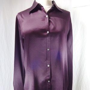 LAUREN RALPH LAUREN Purple Silk Button Shirt 10